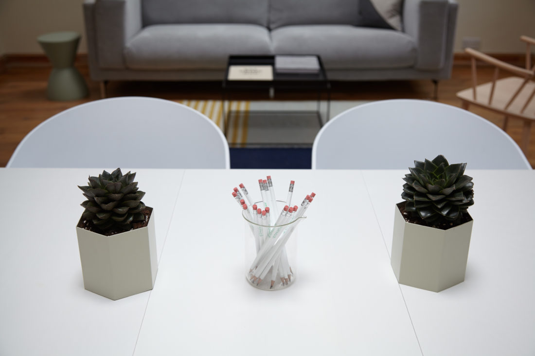 Two plants and a beaker filled with pencils on a white desk inside a marketing office.